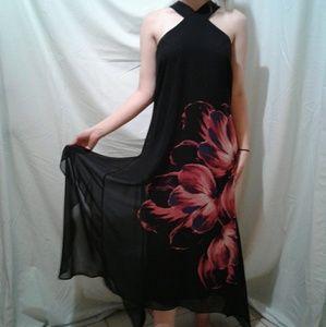 🌺 Jennifer Lopez Sheer Lined Maxi Dress EUC